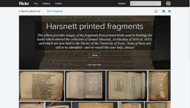 Flickr album of print binding fragments in the Harnsett collection