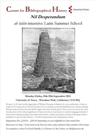 Essex CBH Latin Summer School 2014